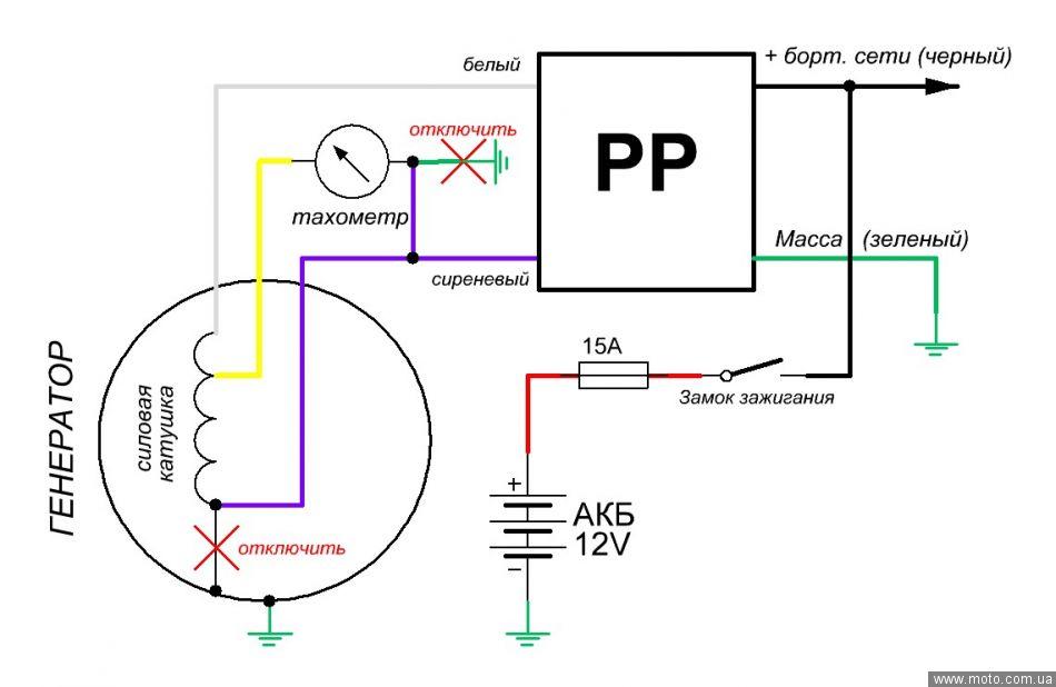 Схеме подключения реле регулятора скутера